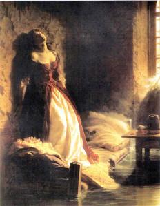 Woman in flood alone
